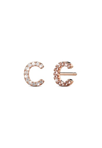 925 Signature silver 925 SIGNATURE Solid 925 Sterling Silver Glamour Alphabet Letter Earrings Rose Gold - C 60055AC35A41E2GS_1
