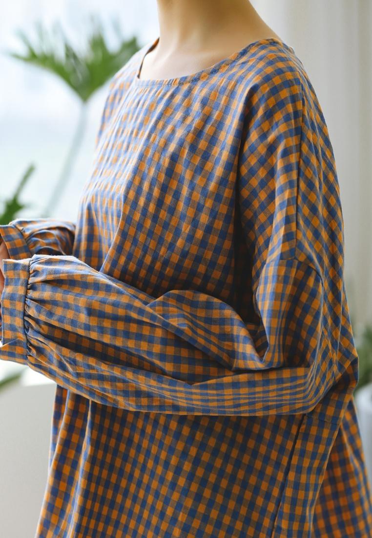 Blouse Orange Shopsfashion Checked Loose Blue Fit tqPT8