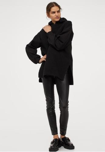 H&M black Imitation leather leggings E2E4EAAE9184A8GS_1