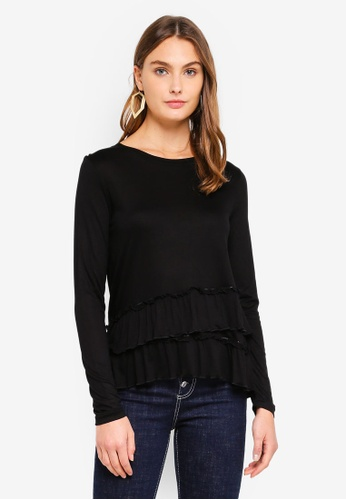 Brave Soul black Long Sleeve Top With Frill Detail At Hem E880DAA6EDDAD1GS_1