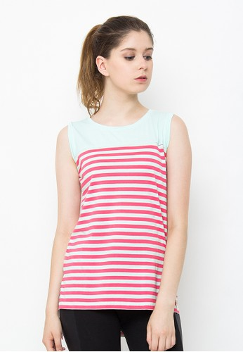 Sequel green Basic Sleeveless Pink Stripes SE531AA62JYNID_1