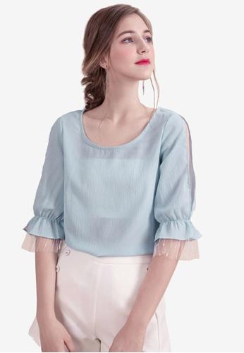 Eyescream blue Lace Sleeve Blouse A88D4AA5443D56GS_1
