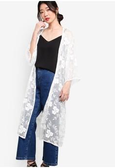 【ZALORA】 Premium 刺繡開襟薄外套