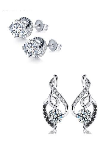 A-Excellence white Premium Elegant White Silver Earring Set 44786AC2BC62A5GS_1
