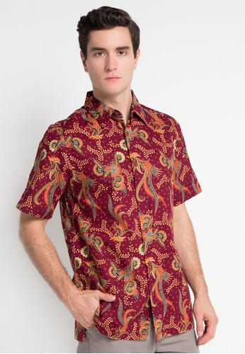 Batik Solo red Short Sleeve Cotton Print Shirt BA657AA0WFMXID_1