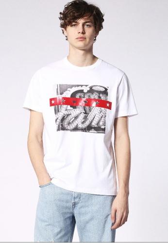 Diesel white T-Joe-Sa Short Sleeve Tshirt With Print 7DC80AA1060700GS_1
