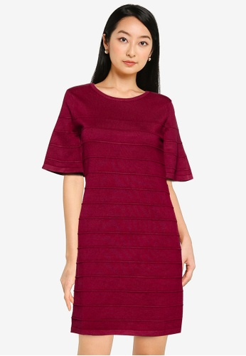 ZALORA BASICS red Flare Sleeve Knit Dress BCF7BAA430DD08GS_1