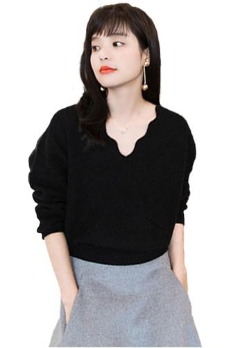 Sunnydaysweety black V Neckline With Scallop  Wrap Knit Top CA112812BK E75B5AA97EC89FGS_1