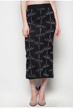 Maxi Knitted Skirt Bamboo Printed Design