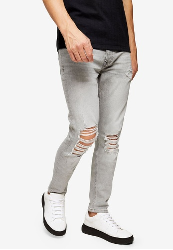 Topman grey Grey Distressed Ripped Stretch Skinny Jeans D041CAAD5FCAE6GS_1