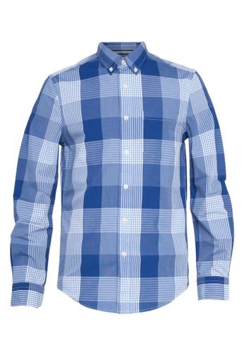 Chaps blue Chaps Printed Cotton Sport Shirt B8A7DAA6A6C6A5GS_1