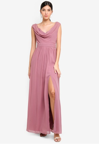 Little Mistress pink Rose Cowl Neck Maxi Dress 562D9AA8701856GS_1