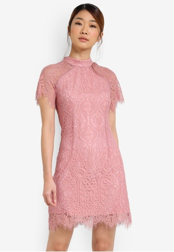Something Borrowed pink Cap Sleeved Lace Bodycon Dress 04819AA1343E0EGS_1