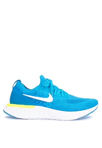 Nike white and blue Mens Nike Epic React Flyknit Running Shoes  6DAE9SH34F8A25GS1