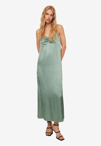 Mango 綠色 綢緞 洋裝 0E068AAED5D4C9GS_1