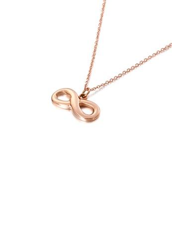 Glamorousky 銀色 簡約時尚鍍玫瑰金無限符號316L鋼吊墜配項鏈 C5683AC15D1151GS_1