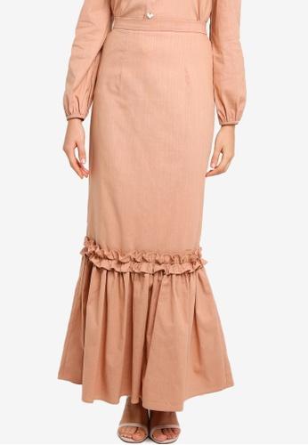 Lubna brown Ruffle tier skirt A403DAA73F0C4BGS_1