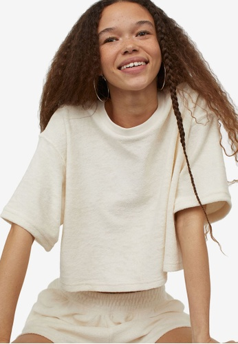 H&M white Terry Cropped Top 56FA5AA659A339GS_1