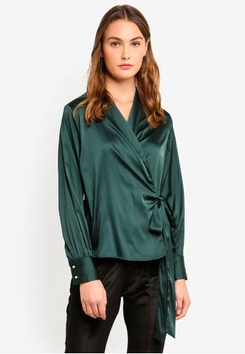 MISSGUIDED green Satin Deep Cuff Tie Blouse 6DAC8AA794D741GS_1