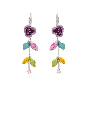 Glamorousky multi Violet Rose Earrings with Multi-color Austrian Crystals and Crystal Glass 8115CAC3A71264GS_1
