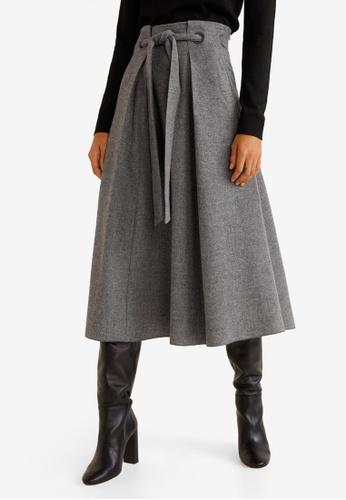 Mango grey Flared Long Skirt D16B5AAA3F855EGS_1