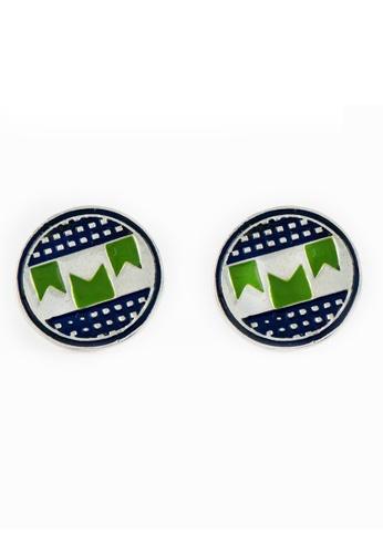Aadyaa Singapore green and silver Meena Ilkal Border Earrings 56654AC9A77AE4GS_1