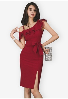 cbfe3e444225 Sunnydaysweety red One Shoulder Flounce One Piece Dress 442C9AABD98A2DGS 1