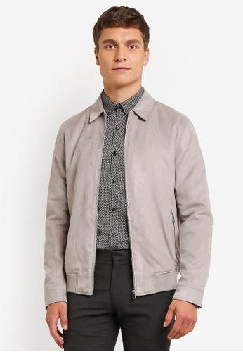 Burton Menswear London grey Grey Suedette Collar Trucker Jacket BU964AA0ROAKMY_1