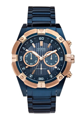 Guess Watch blue Guess Jam Tangan Pria - Blue Rosegold - Stainless Steel - W0377G4 93E5BACC709BACGS_1