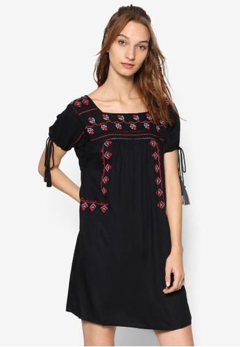 繫帶短袖刺繡連身裙esprit台灣官網, 服飾, 洋裝
