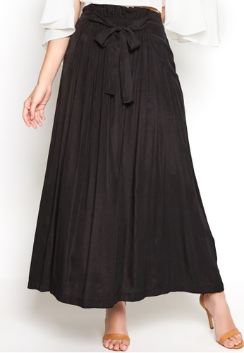 Nichii black Sash Tie Gathered Maxi Skirt 635C1AAEF1E6F8GS_1