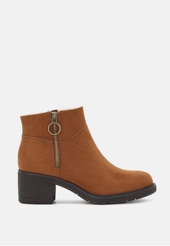 London Rag brown Stack Heel Ankle Boots SH1812 51FD5SHC0268D8GS_1
