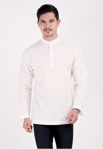 VELRIA white KURNIA Cotton Linen Modern Kurta 5F146AA42C838EGS_1