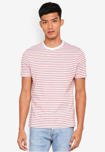 Topman 橘色 短袖條紋T恤 D1A47AAA45753EGS_1