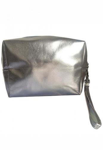 Stylesource silver Soft Metallic Cosmetic Bag ST896AC17UWGPH_1