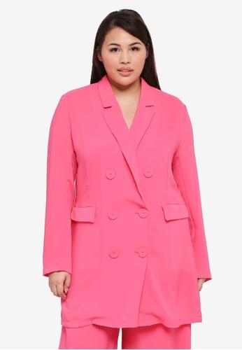 ELVI pink Plus Size Hydro Longline Double Breasted Blazer 944E8AAA657811GS_1