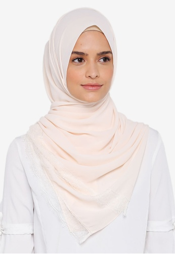 Lubna white Silk Shawl with Lace BFB82AA699ADBCGS_1