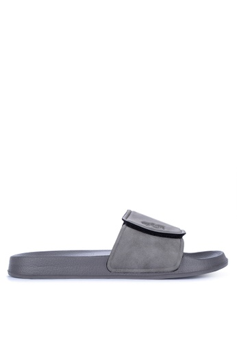 OXYGEN grey On Trend Rubber Sliders With Velcro 544FASHC349C45GS_1