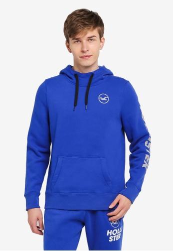 Hollister blue Core Printed Logo Hoody HO422AA0SJPBMY_1