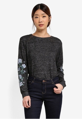 Dorothy Perkins grey Embroidered Sleeve Top DO816AA0T04PMY_1