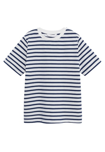 MANGO KIDS blue Striped Cotton T-Shirt 45CD8KA8239545GS_1