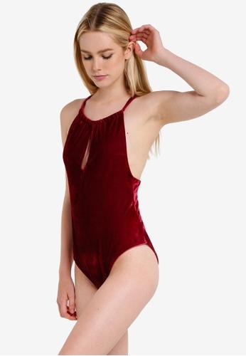 PINK N' PROPER red Opulence Danya Keyhole Velvet One-Piece Swimsuit D24D1USA6A2648GS_1