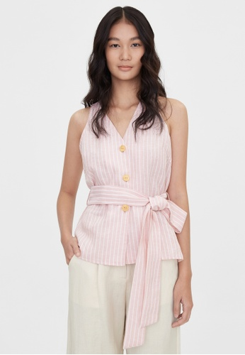 Pomelo pink Purpose Striped Sleeveless Blouse - Pink 3F87FAA4A8390AGS_1