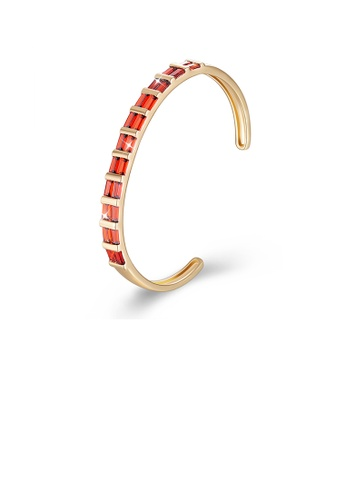 Glamorousky red Fashion Plated Champagne Gold Open Bangle with Red Cubic Zircon E55BAAC7867104GS_1
