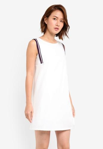 ZALORA white Shift Dress With Rib Trim C3B1BAAD431B31GS_1