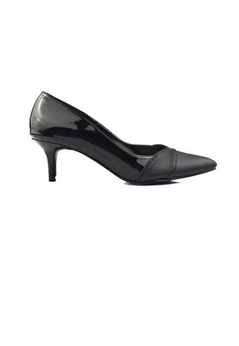 SHINE black Paneled Pointed Heels 56A88SH642FC69GS_1