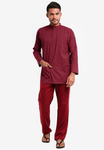 Lubna red Stripe Baju Melayu Cekak Musang B6AFCAAB0BC5E9GS_1