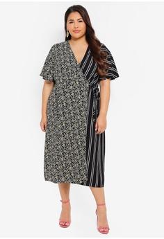 3b0d3dcbb1 LOST INK PLUS multi Plus Size Dress With Floral & Stripe Mix  99C38AA0D99732GS_1