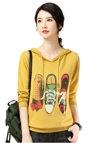 A-IN GIRLS yellow Casual Printed Hooded Sweater 01FE8AA3B9ED3DGS_1