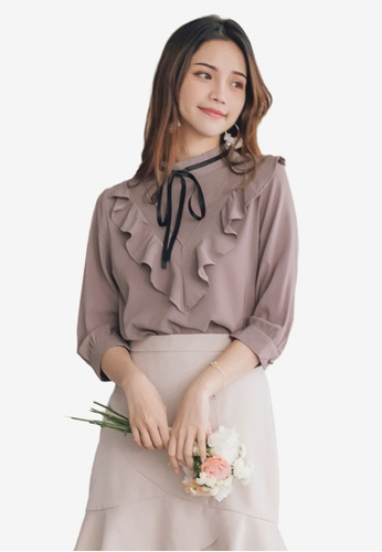 low cost purchase authentic reliable quality Ruffle Collar Bow Tie Blouse